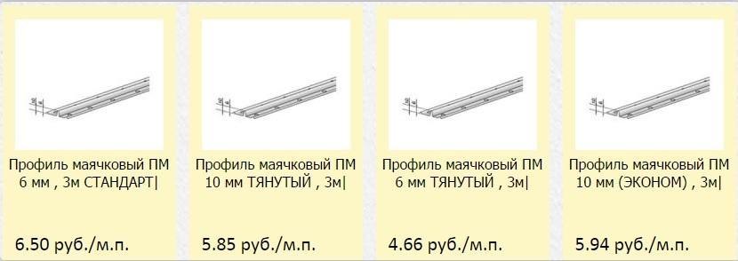 размеры маячков для выравнивания стен
