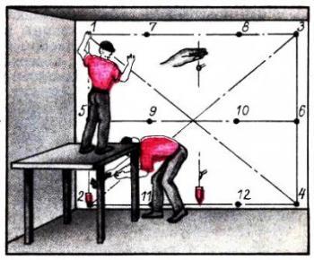 Протягиваем 2 горизонтальные и вертикальные веревки с помощью уровня(отвеса) от потолка до пола.