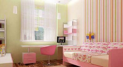 Рабочая зона с компьютером имеет однотонную отделку, а зона отдыха с диваном – многоцветную