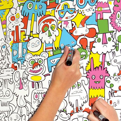 Раскраска на стене