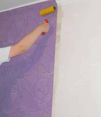 Разглаживание фиолетового полотна