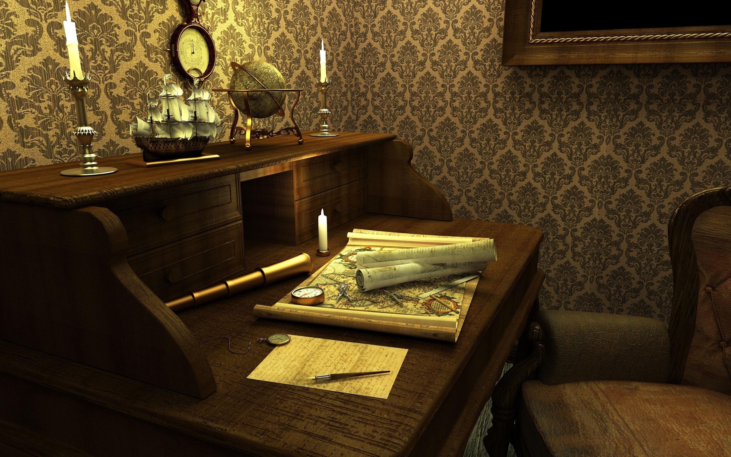 Роскошный орнамент кофейного цвета на светлом фоне – беспроигрышный вариант для рабочего кабинета
