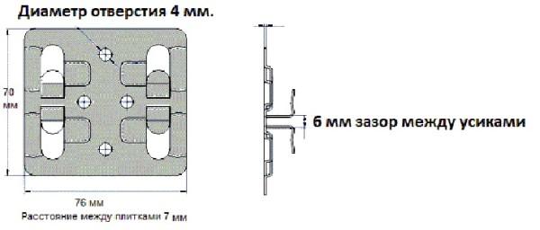 Рядовой кляммер для крепления плит керамогранита.