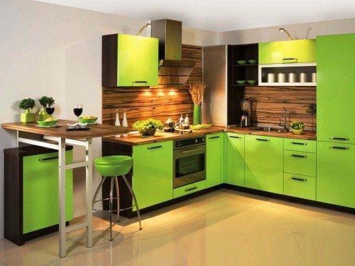 Салатовый кухонный гарнитур