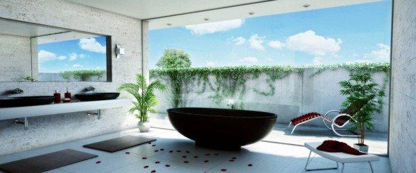 Самоклеящиеся виниловые фотообои в интерьере ванной комнаты.