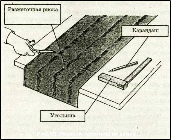 Схема раскраивания полотен