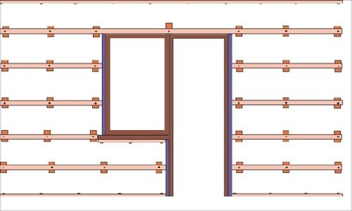 Схема расположения реек на стене.