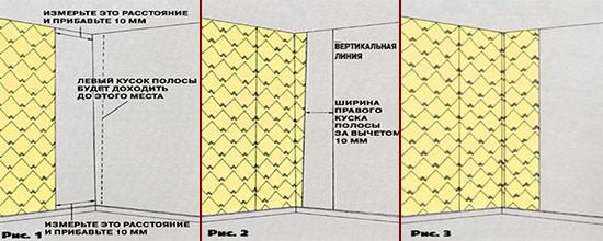 Схема стыковки полос материала по углам