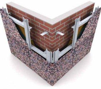 Схема устройства навесного вентилируемого фасада с облицовкой керамогранитом
