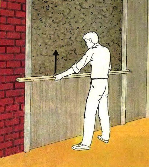 Схема выравнивания стены правилом