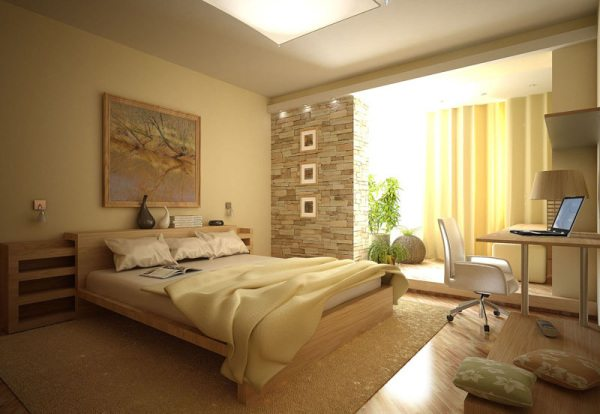 Сочетание камня и обоев в интерьере спальни – гармоничная обстановка