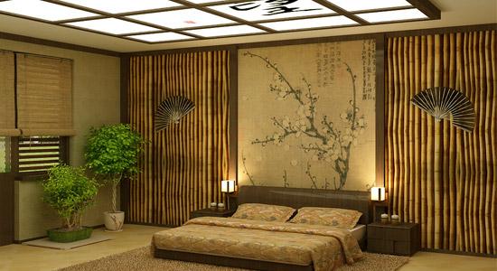 Сочетание мебели с бамбуковыми обоями.