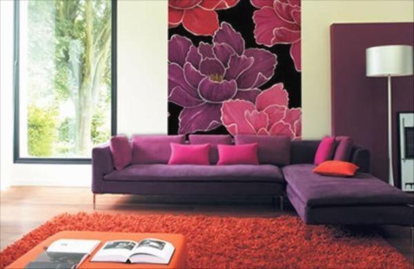 Сочетание с лиловой мебелью.