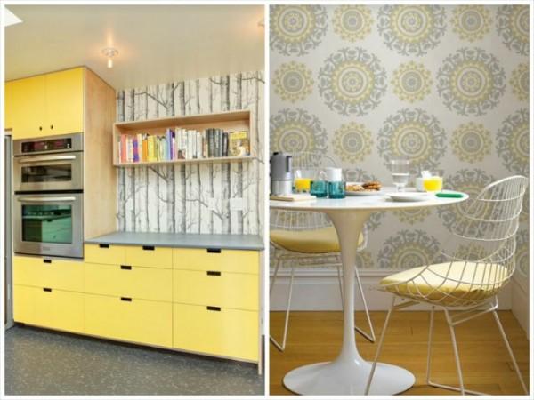 Сочетание серого и желтого в отделке стен на кухне