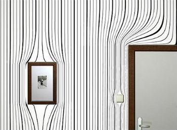 Совмещение покрытия для стен с предметами интерьера и декора