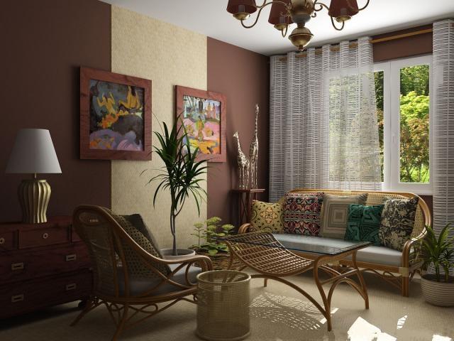Совместите коричневый и бежевый цвет при отделке стен - и вы получите шикарную обстановку