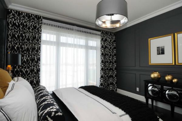 Современная спальня с темными обоями - стильно и изящно
