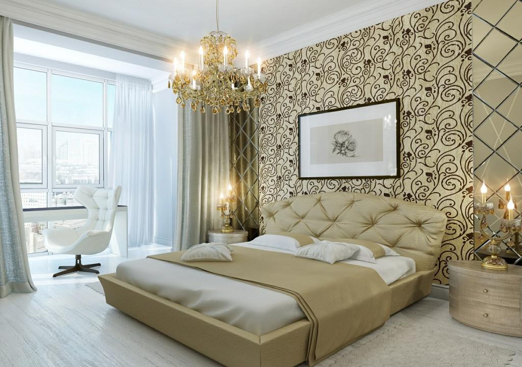 Современный дизайн спальни в неоклассическом стиле.