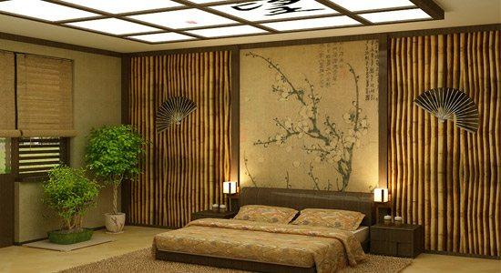 Спальня, облицованная бамбуком.