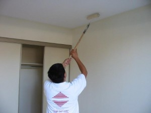 Специальная насадка на ручку позволяет достать до потолка без стремянки