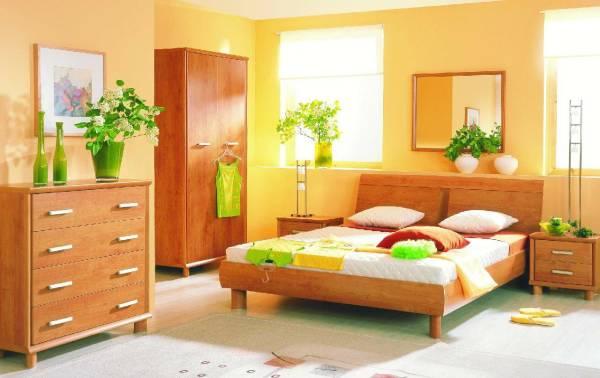 Спокойная абрикосовая расцветка – идеальное решение для спальни