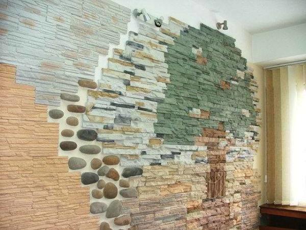 Стена, облицованная различными видами камня –варианты на любой вкус и цвет