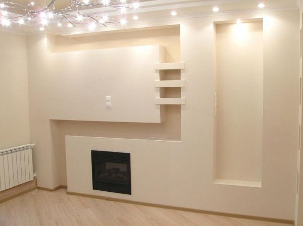 Стена, выполненная из гипсокартона