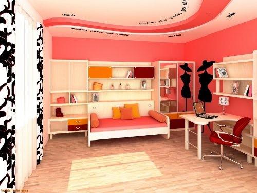 Стильное оформление молодежной комнаты обоями под покраску