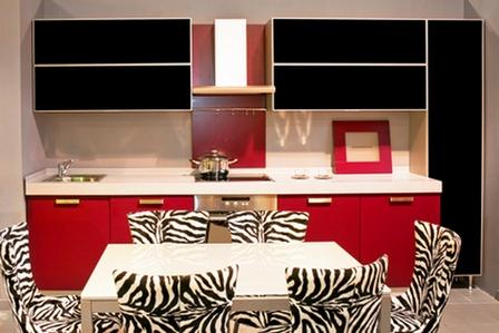 Строгие обои для черно красной кухни