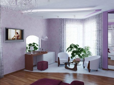 Светло-фиолетовые тона позволят сделать гостиную очень уютной