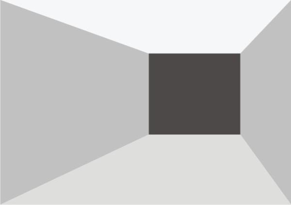 Светлые боковые стены кажутся более удаленными друг от друга.