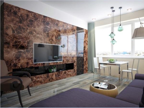 Такая отделка под блестящий мрамор больше подойдёт для официальных помещений, в гостиной ей не место (фото «O»)