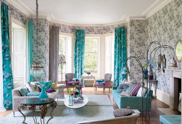 Текстильный дизайн зала и обои из ткани