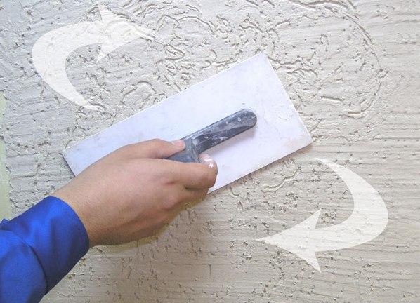 Текстурирование декоративной штукатурки.