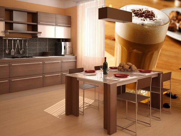 Тематические фотообои в интерьере кухни способствуют увеличению аппетита