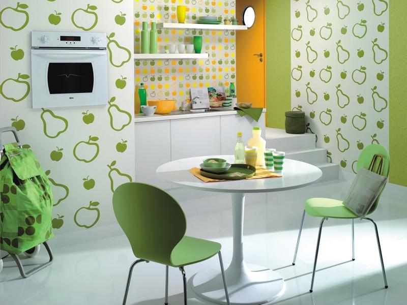 Тематическое оформление стен на кухне обоями