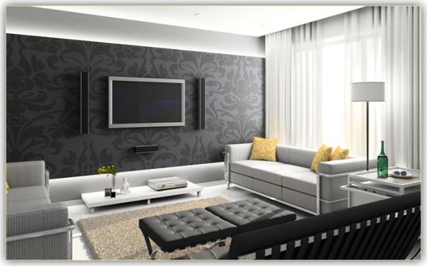 Темная стена и светлая обивка диванов – беспроигрышный вариант
