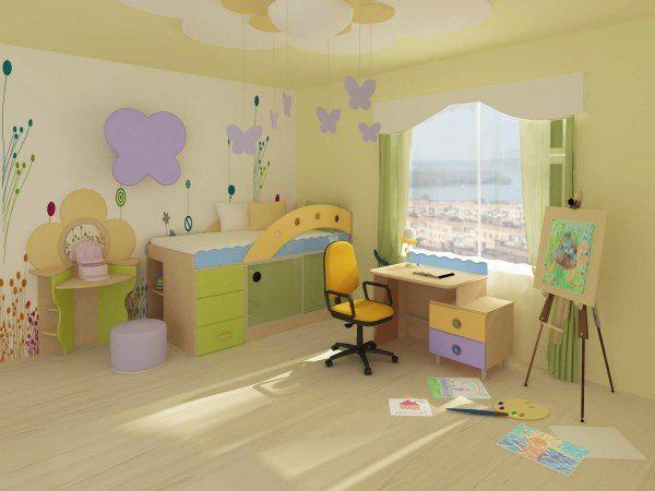Теплые оттенки зеленого, примененные в оформлении детской комнаты, успокаивают