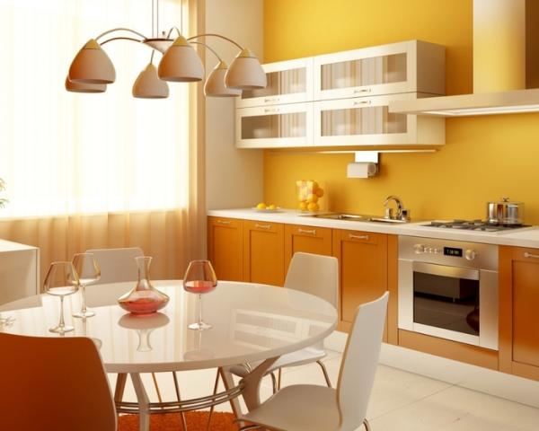 Теплые тона кухонного пространства