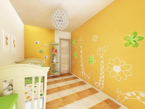 Теплые тона в оформлении стен обеспечивают атмосферу спокойствия и жизнерадостности