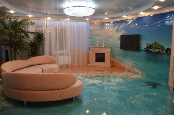 Трехмерный пол в интерьере гостиной