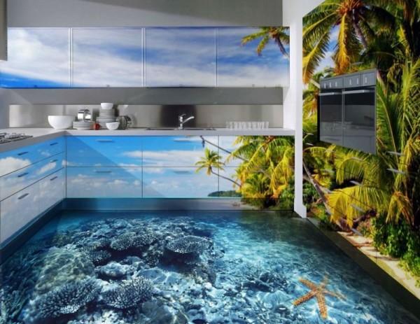 Трехмерный пол в интерьере кухни