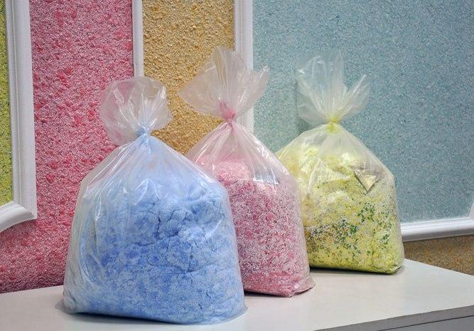 Цветной порошок в пакетиках на фото – будущие жидкие обои