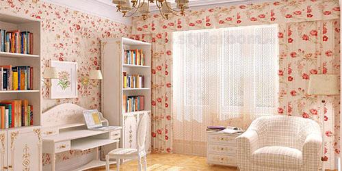 Цветочный рисунок отделки создает романтичную атмосферу.