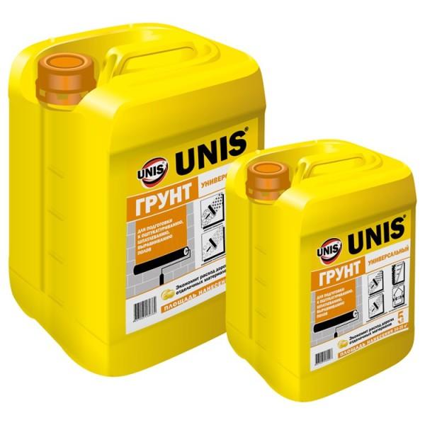 Универсальная грунтовка для отделочных работ UNIS. Тара на 10 и 5л
