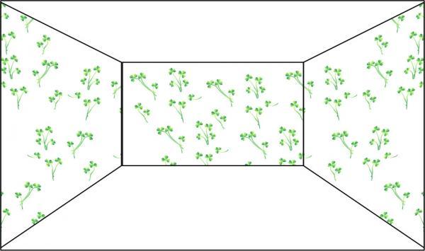 Увеличение пространство при помощи мелкого рисунка.