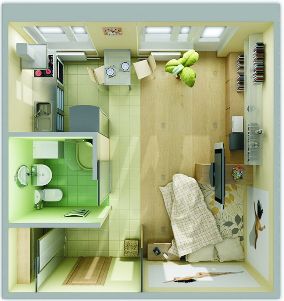 В однокомнатной квартире кухня и санузел занимают почти половину всей площади.