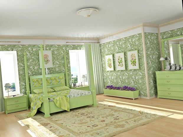 В светлой комнате хорошо смотрятся зеленые обои.