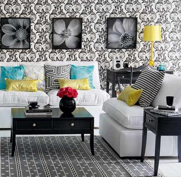 Вариант черно-белой отделки стен