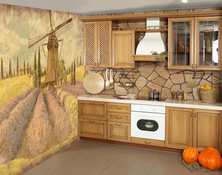 Вариант использования фотообоев в интерьере кухни